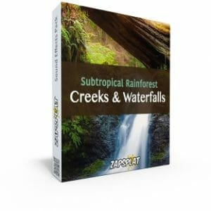 Subtropical rainforest creeks and waterfall sound effects pack