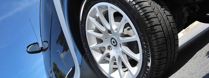 Close up of a car wheel